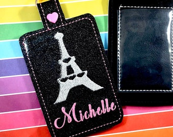 Paris Personalized luggage Tag - Luggage Tag- Diaper Bag Tag - Backpack Tag-  Glitter Luggage Tag- Graduation Gifts- Travel GIfts