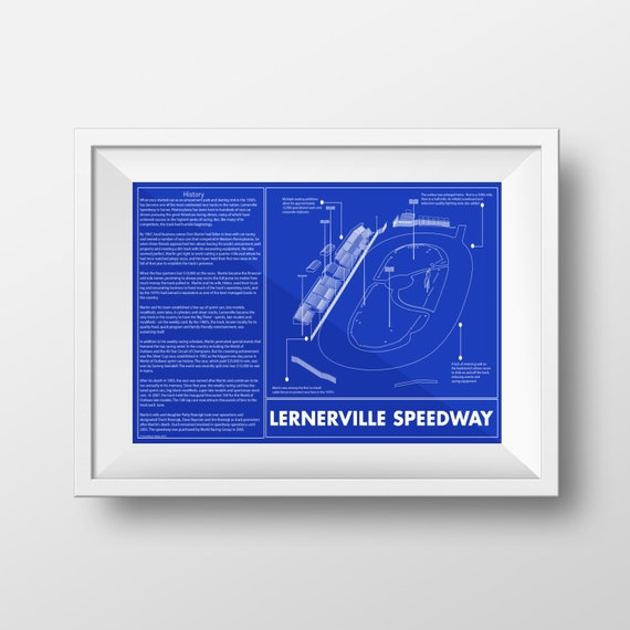 Sale lernerville speedway blueprint art print 11 x 17 race etsy image 0 malvernweather Gallery