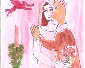 THE WEDDING after Chagall naive,folk,lowbrow,outsider,contemporary