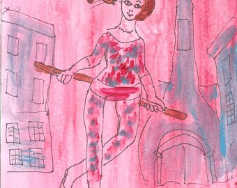 The Acrobat - after Chagall, original,small,surreal,art brut, lowbrow, naive