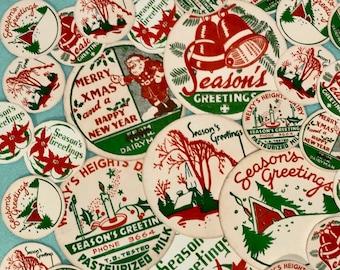 DIGITAL Vintage 30s-40s Assortment Vintage Christmas Milk Caps Tags Labels INSTANT DOWNLOAD
