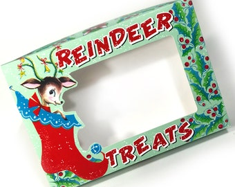 DIGITAL Vintage Christmas Reindeer Treats Box Craft File Printable INSTANT DOWNLOAD
