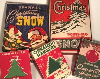 Set Five Reproduction Vintage Christmas Snow Ornament Hanger Boxes 40s 50s