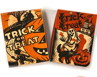 DIGITAL Vintage Halloween Trick or Treat Duo Small Box Craft File Printable INSTANT DOWNLOAD