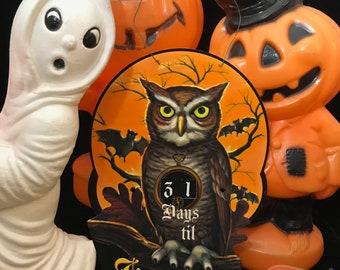 DIGITAL Vintage Owl Countdown to Halloween Days Calendar Sign File Printable INSTANT DOWNLOAD