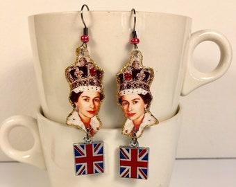 The Queen of England Earrings  Queen Elizabeth God Save the Queen Queen Mum Pop Culture Kitsch