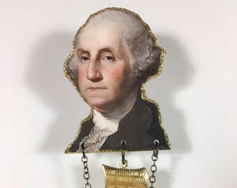 George Washington Brooch pin  United States President cherry tree one dollar bill historical founding father