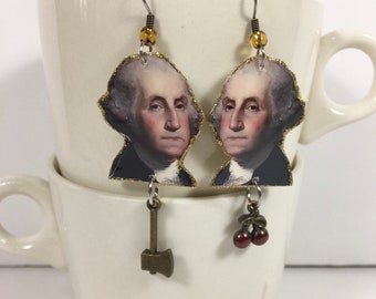 George Washington Earrings United States President cherry tree one dollar bill historical founding father