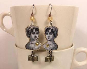 Jane Austen earrings Pride and Prejudice Sense and Sensibility Emma