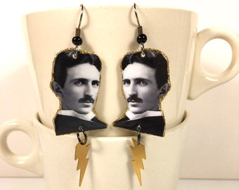 Nikola Tesla Earrings Free Energy Inventor Alternating Current Futurist Electricity