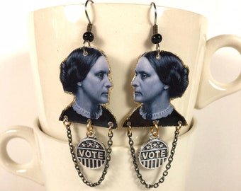 Susan B. Anthony earrings suffragette feminist womans rights vote