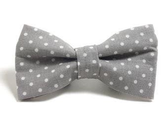Dog Collar Bow Tie - Dog Bow Tie - Gray and White Dots - Gray and White Dog - Collar Accessory - Bow Tie for Dog - Wedding Dog Bow Tie
