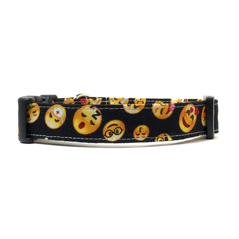 Dog Collar - Emoji Dog Collar - Emoticon Dog Collar - Black Dog Collar -  Fabric Dog Collar - Fun Dog Collar