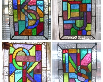 Letters Entwined! Personalised Initials A-Z Stained Glass Suncatcher - pewtermoonsilver