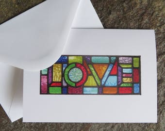 Love! Rainbow Stained Glass Christmas Card - pewtermoonsilver