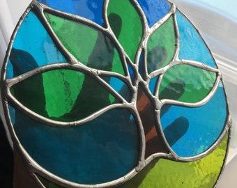Summer Tree! Seasonal Sunny Stained Glass Suncatcher - pewtermoonsilver