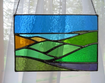 Down To The Sea! Holiday Postcard Stained Glass Suncatcher Panel - pewtermoonsilver
