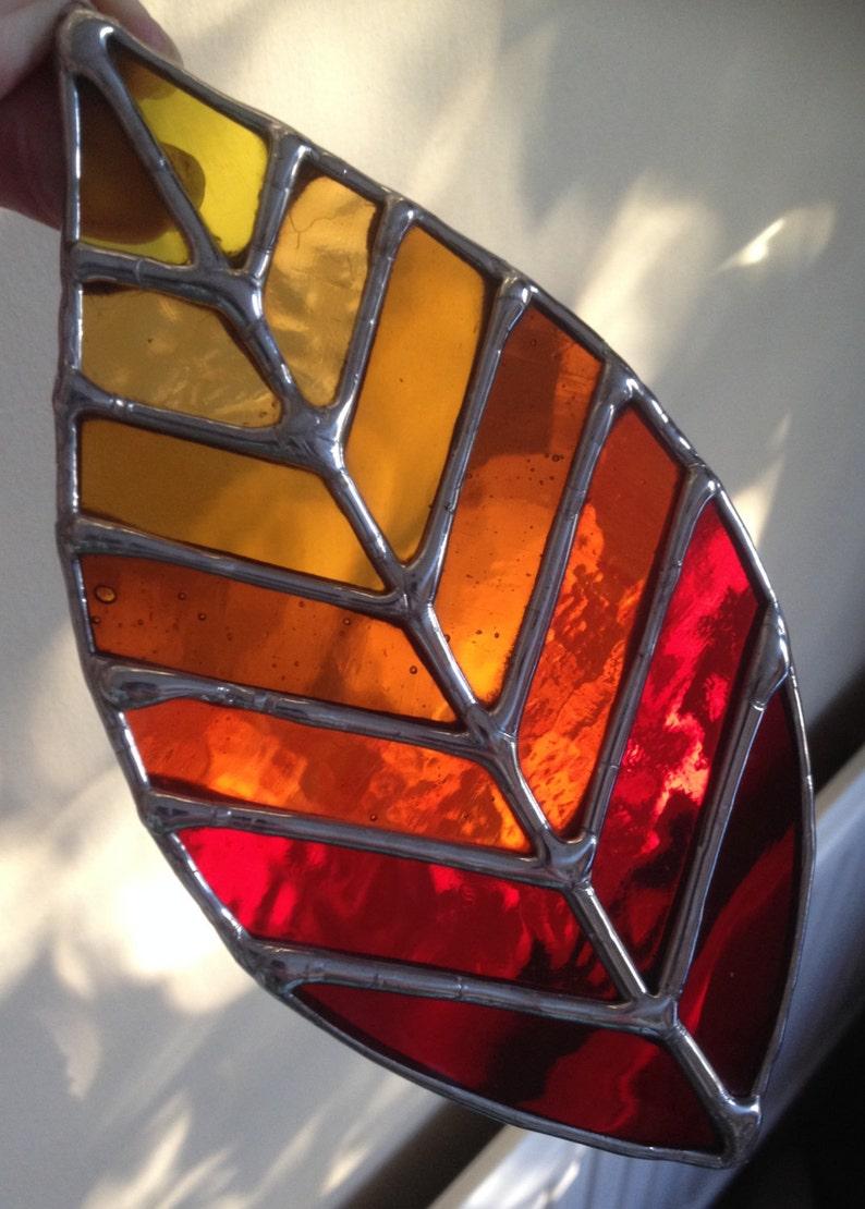 Autumn Shades Leaf Beautiful Stained Glass Suncatcher  image 1