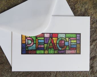 Peace! Rainbow Stained Glass Christmas Card - pewtermoonsilver