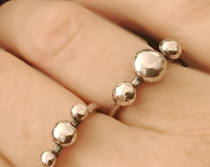 Handcrafted Sterling Silver Triple Pebble Ring