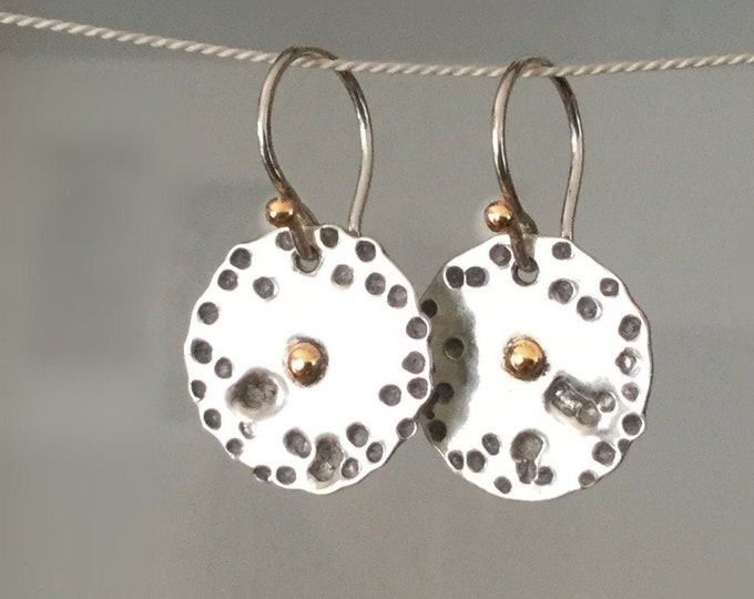Handcrafted Sterling Silver Textured Disc Earrings With 14k Yellow Gold