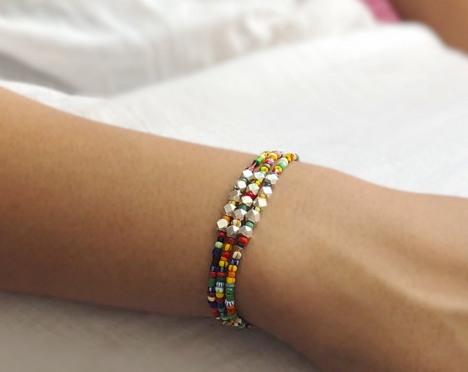 Bracelet with African Trade Beads and Hill Tribe Silver
