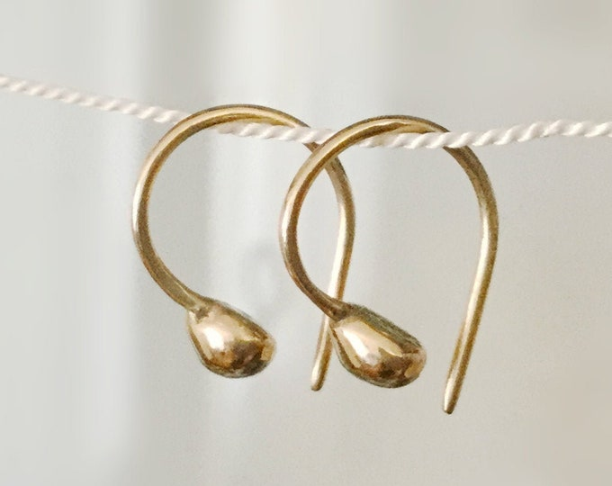 Handcrafted Organic Solid 14k Yellow Gold Little Nugget Earrings for Women
