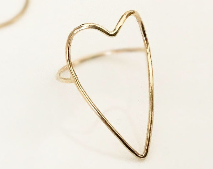 Delicate Solid 14k Yellow Gold/ 14k Yellow Gold Filled/ Sterling Silver Handcrafted Open Heart Ring, All Sizes