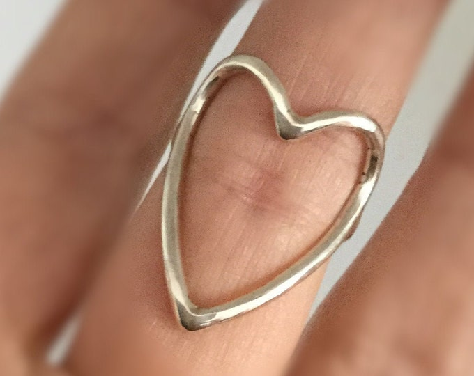 Big Sterling Silver Statement Open Heart Ring 12gauge, All Sizes