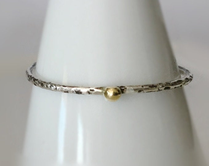 Handcrafted Thin, Textured Sterling Silver Ring Band with Tiny, Solid 18k Yellow Gold Pebble