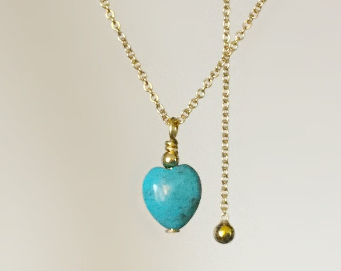 Handcrafted African Turquoise Heart Necklace on 14/20 Adjustable Gold Chain