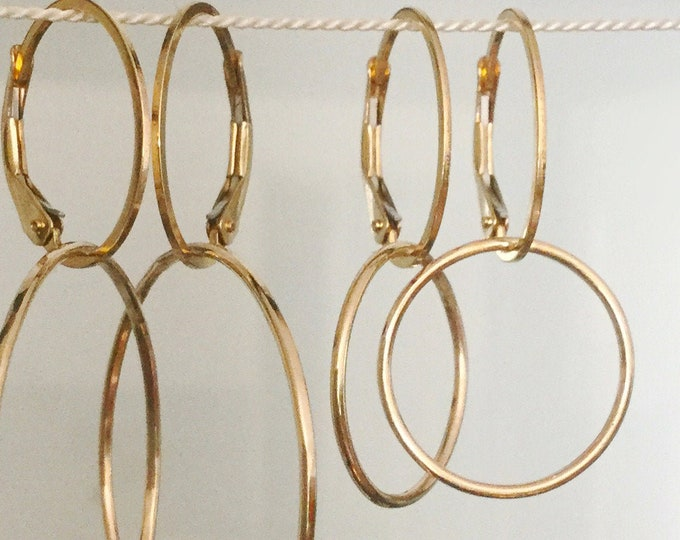 Handcrafted Minimal 14k Yellow Gold Filled Hoop Earrings with Leverback