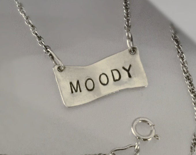 Sterling Silver Moody Tag  Necklace