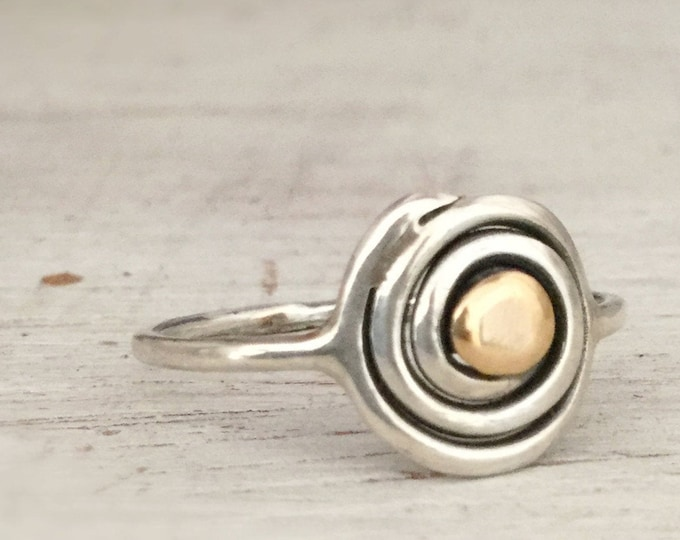 Delicate Sterling Silver Evil Eye Ring with 14k Gold, All Sizes