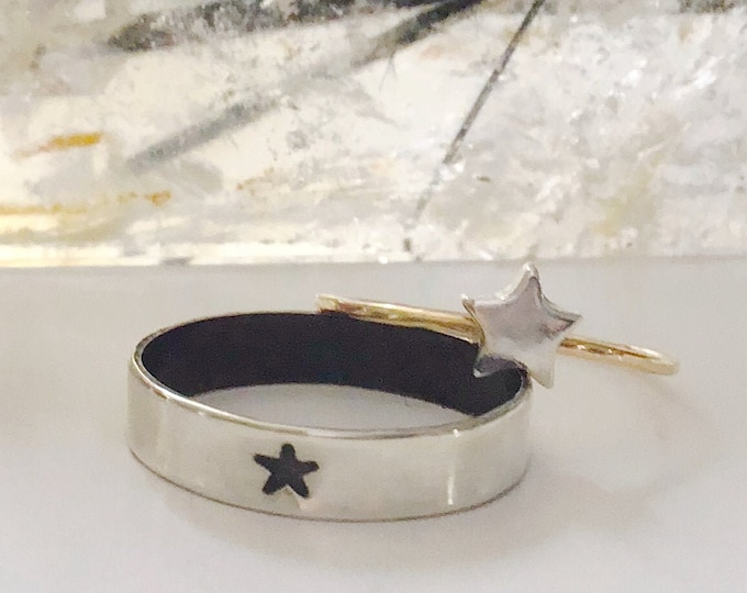 Handcrafted Argentium Silver Ringband with Stamped Black Star