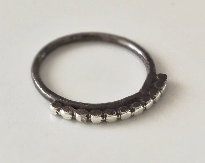 Handcrafted Minimal Sterling Silver Ring with Beaded Accents