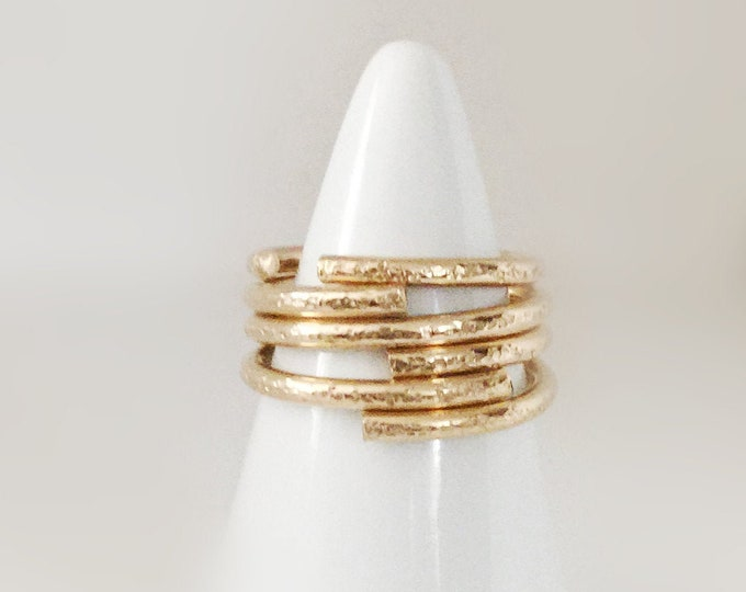 Handcrafted Thick 14k Gold Filled 12Gauge Open Ring Bands with Texture, All Sizes