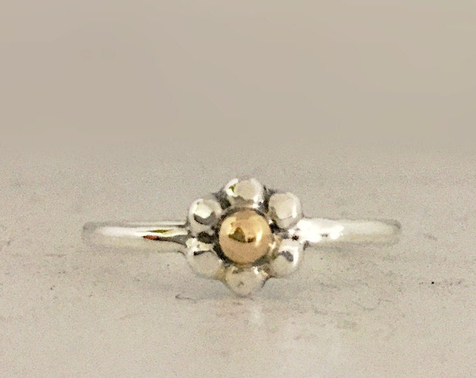 Sterling Silver Flower Ring with 14K Center Ring for Women, All Sizes, Dainty Jewelry, Gift for Her,  Ring for Girls, Stackable Ring
