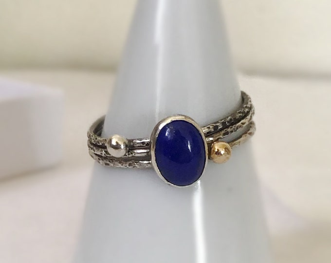 Handcrafted Sterling Silver Delicate Ring Stack with Lapis and 14k, All Sizes