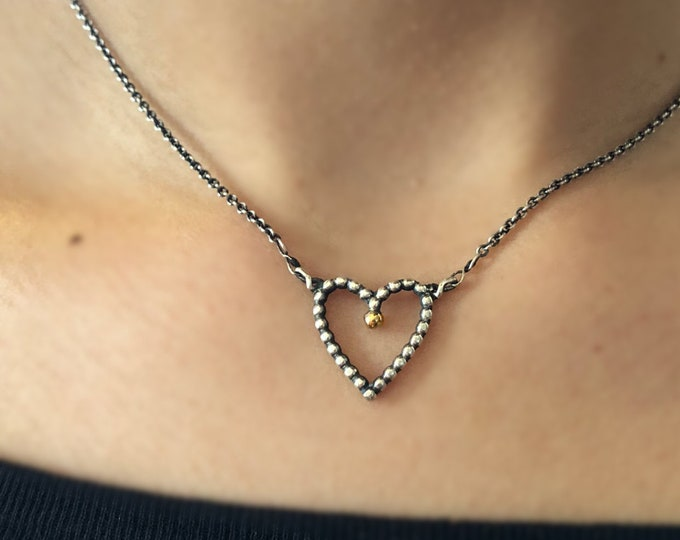 Handcrafted Sterling Silver Heart Necklace with 14k Gold Droplet
