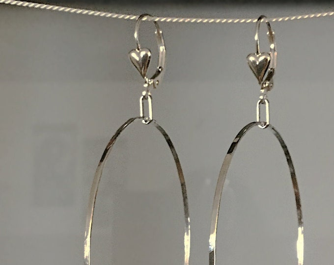 Large Delicate Handcrafted Sterling Silver Hoop Earrings with Heart Detail