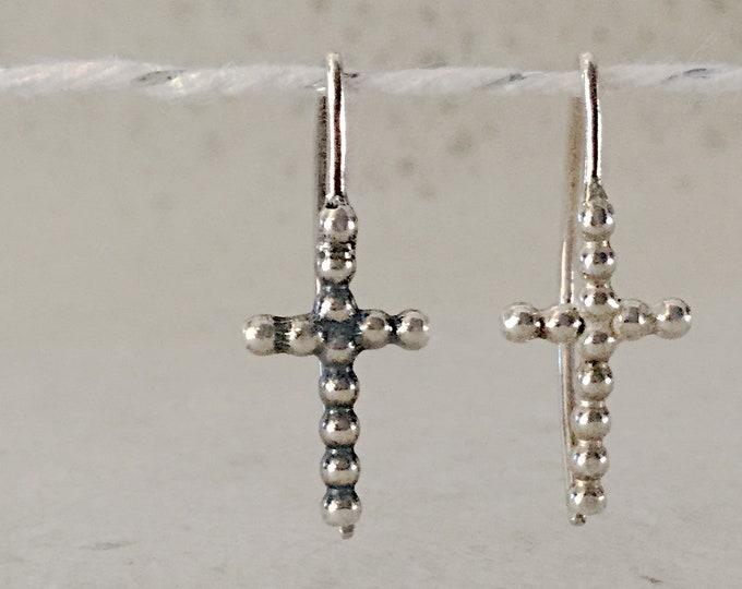 Handcrafted Minimal Sterling Silver Cross Earrings