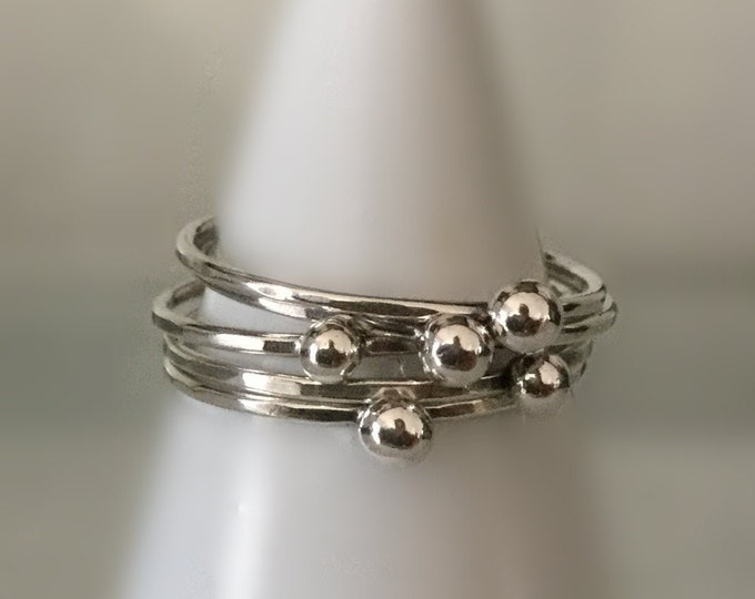 Set of 5 Tiny Sterling Silver Handcrafted Stacking Dot Rings, Midi Rings, All Sizes