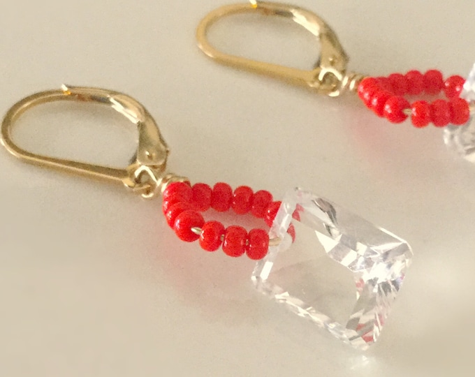 Facetted Quartz Crystal Gold Filled Earrings with Seed Beads, Earrings for Women, Clear Quartz, Earrings with Gold Filled Lever Back