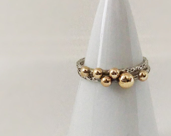 Solid 14k Gold Pebbles on Sterling Silver Ring Band, All Sizes