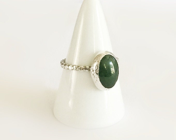Handcrafted Sterling Silver Ring with Jade