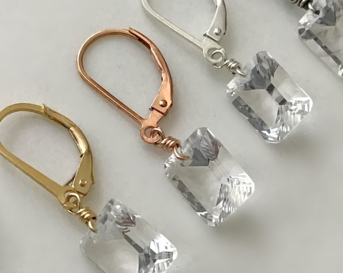 Small Quartz Crystal Lever Back Earrings in 14k GoldFilled, Sterling Silver Crystal Quartz Earrings for Girls and Women