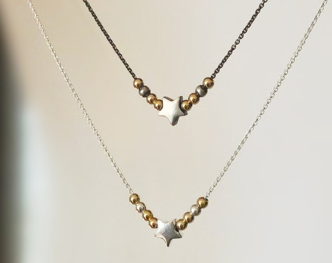 Sterling Silver and 14k Gold Star Necklace with Sliding Beads on Dainty Sterling Silver Chain