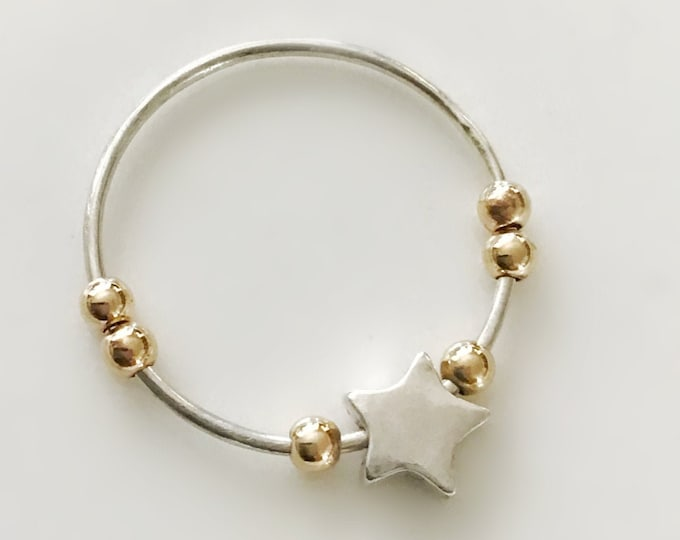 Silver Star Ring Band with 14k Gold Filled Beads, Fidget Ring, Anti Anxiety Ring with Star, Star Ring for Girls and Women, Fidget Ring