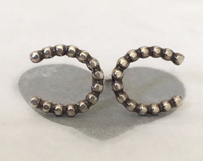 Little Handcrafted Sterling Silver Horseshoe Stud Earrings